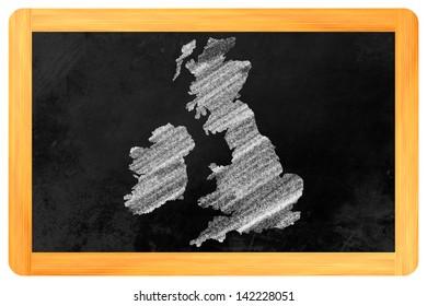 Great Britain drawn on a blackboard