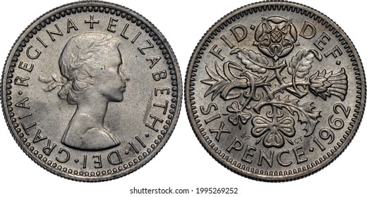 Great Britain Elizabeth II Sixpence 1962 Royal mint 6 Pence