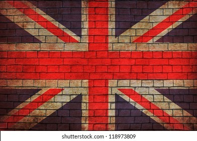 Great Britain flag brick wall background