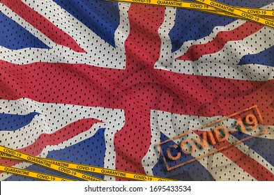 Great britain flag and Covid-19 biohazard symbol with quarantine orange tape and stamp. Coronavirus or 2019-nCov virus concept