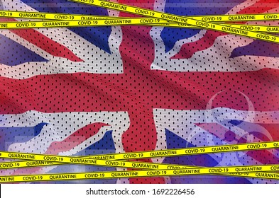 Great britain flag and Covid-19 quarantine yellow tape. Coronavirus or 2019-nCov virus concept