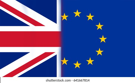 Great britain and flag of the EU brexit