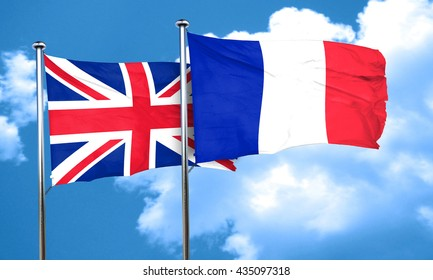 Great britain flag with France flag, 3D rendering