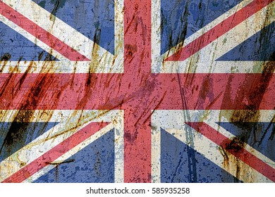 Great Britain flag on metal
