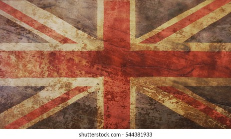 Great Britain Flag on Wood Background