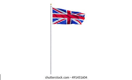 Great britain flag waving on white background, long shot, isolated with clipping path mask alpha channel transparency