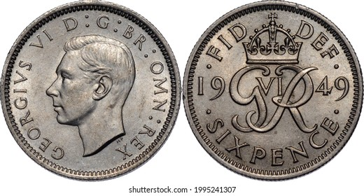 Great Britain George VI Sixpence 6 Pence 1949 Royal Mint London
