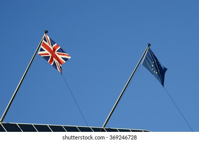Great Britain, London, flags of Great Britain and European Union