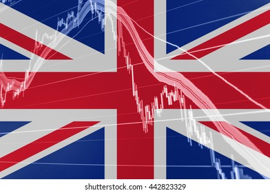 Great Britain Union Jack flag with stock exchange chart graph indicating Brexit of United Kingdom from European Union and market loss Pound crisis fall.