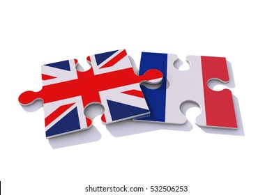 Great Britain Union Jack and France flags on puzzle pieces. Political relationship concept. 3D rendering