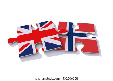 Great Britain Union Jack and Norway flags on puzzle pieces. Political relationship concept. 3D rendering