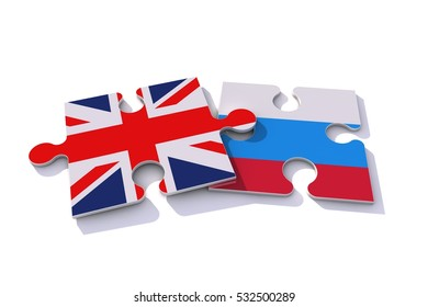 Great Britain Union Jack and Russia flags on puzzle pieces. Political relationship concept. 3D rendering