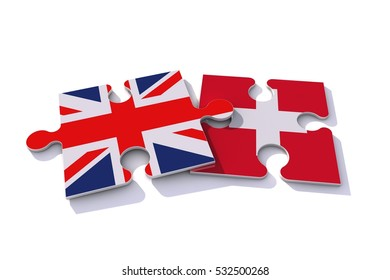 Great Britain Union Jack and Swiss flags on puzzle pieces. Political relationship concept. 3D rendering