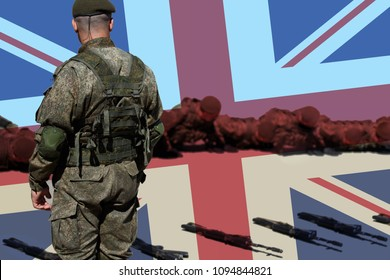 Great Britain. United Kingdom Army senior drill instructor and new recruits. The sergeant does pushups with her platoon during basic combat training against the background of the Union Jack flag