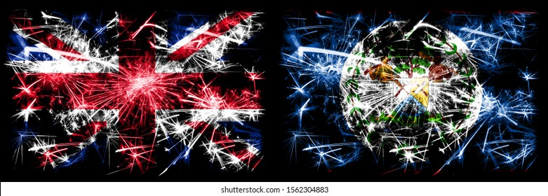 Great Britain, United Kingdom vs Belize, Belizean New Year celebration travel sparkling fireworks flags concept background. Combination of two abstract states flags.