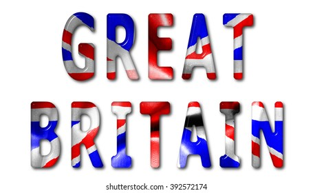 Great Britain word with a beveled flag texture on an isolated white background with a clipping path with and without shadows
