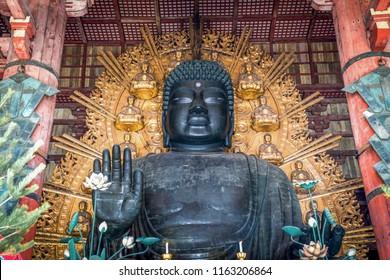 Great bronze Buddha statue in Todaiji Temple, Nara Prefecture, Japan