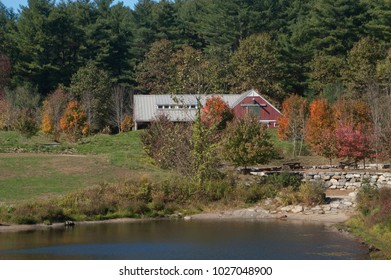 Great Brook Farmhouse/Barn in Autumn. Located in Carlisle MA, the park has a dairy farm and hiking/cross country skiing trails.  Sites for fishing, canoeing, and horseback riding are also available.
