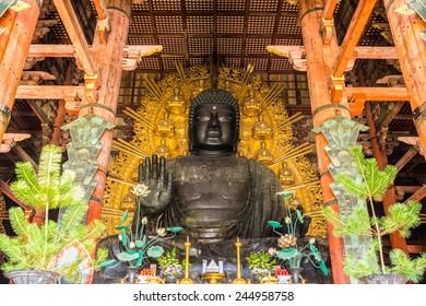 The Great Buddha (Daibutsu-Den) at Todai-ji temple in Nara, Japan.