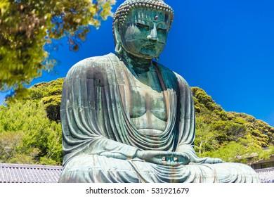 The Great Buddha in Kamakura Japan.  Located in Kamakura, Kanagawa Prefecture Japan.