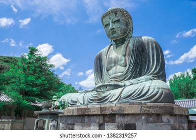 The Great Buddha of Kamakura Kanagawa,Japan. Originally housed in a hall that was destroyed twice in the 14th Century, the great Buddha at Kotoku-in Temple dates fro