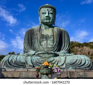 The Great Buddha sculpture in Kamakura.  Tokyo, Japan.