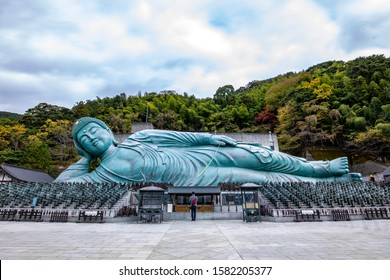 Great Buddha statue, Fukuoka, Japan . November 20, 2019 : Nanzo-in is a Shingon sect Buddhist temple in Sasaguri, Fukuoka Prefecture, Japan. It is notable for its bronze statue of a reclining Buddha