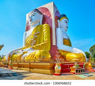 The great Buddha statues of Kyaik Pun Pagoda are famous as four Buddhas, riched Nirvana, Bago, Myanmar