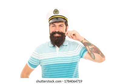 Great captain with great mustache. Happy seaman twirl mustache. Bearded man smile in mustache. Barbershop. Journey and discovery. Summer vacation. My boat my mustache.