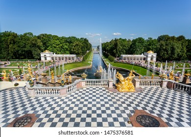 The Great Cascade and Samson fountains in front of the Peterhof Palace in Petergof, St Petersburg, Russia on 22 July 2019