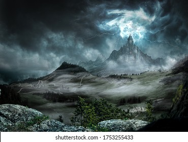 Große Burg dunkel mit starken Strahlen und Blitz