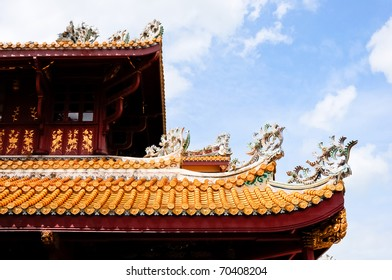 Great Chinese house on the blue sky background