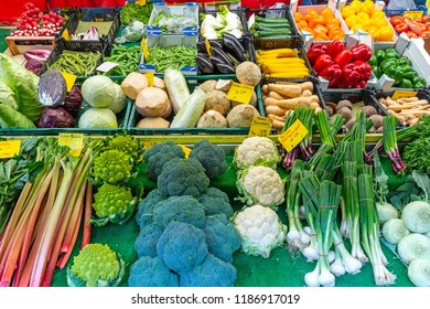 Great choice of fresh vegetables for sale at the Viktualienmarkt in Munich, Germany