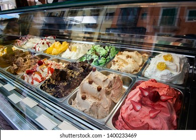 Great choice of ice cream. Italian gelateria. Ice-cream cafe, show window with sweeties.