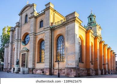 The Great Church (Storkyrkan) or Church of St. Nicholas (Sankt Nikolai kyrka) - XIII century Church, important example of Swedish Brick Gothic, oldest church in Gamla stan. Stockholm, Sweden.