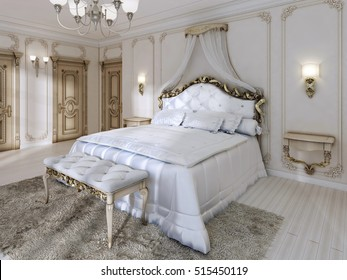 Great classic four-poster bed and soft white Comforter with pillows and hanging cabinets. 3D render.