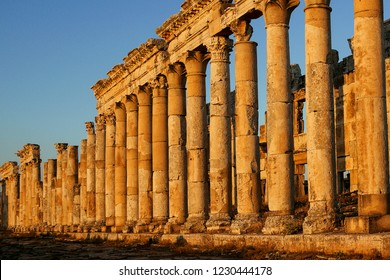 Great Colonnade at Apamea, the main colonnaded avenue of the ancient city of Apamea in the Orontes River valley in northwestern Syria