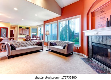 Great color combination. Orange walls make  your living room stand out