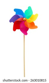 A great colorful pinwheel against white background.