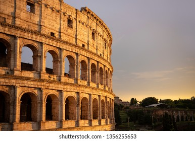 The Great Colosseum (Coliseum, Colosseo) at sunset. Rome, Italy.
