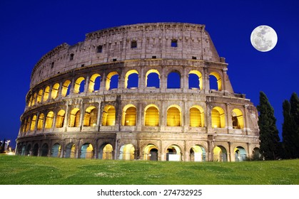 Great Colosseum at dusk, Rome, Italy