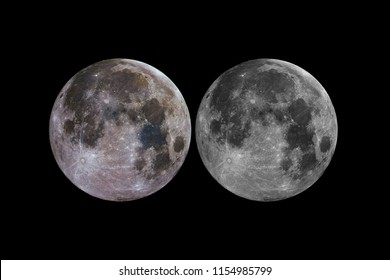 Great composition of Moon in full phase and Mineral Moon with its natural colors, taken with large newtonian telescope with black bacground.