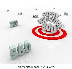 Great Credit Score Words Target High Numbers Ratings