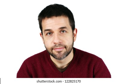 Great detail portrait of a middle aged caucasian man with short beard, smiling, good or ordinary guy concept, candid studio shot.