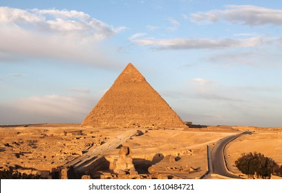 The great Egyptian pyramids: Chefren's pyramid and great sphinx at dawn, Desert landscape, Unesco heritage, travel views.