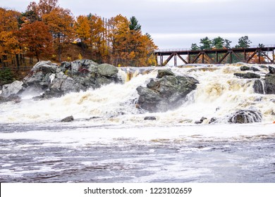 Great Falls in the Maine cities of Lewiston and Auburn on a fall day.