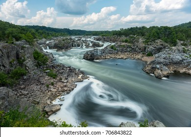 Great Falls Park in Virginia, United States. It is along the banks of the Potomac River in Northern Fairfax County.