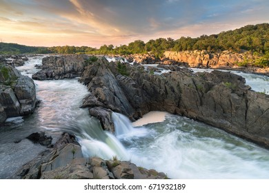 great falls park at sunset