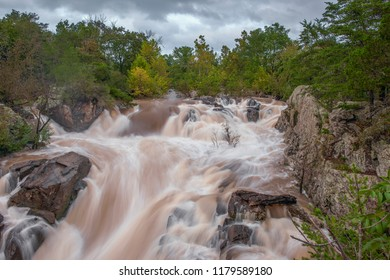 Great Falls of the Potomac River after heavy rains. C&O Canal National Historical Park. Maryland. USA.09/13/2018