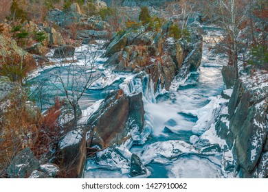 Great Falls of the Potomac River in winter. C&O Canal National Historical Park. Maryland. USA.01/05/2018
